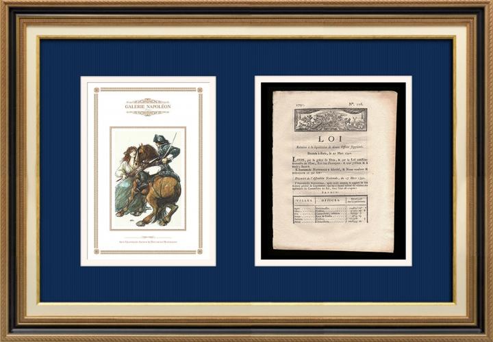 Décret - Louis XVI - 1791 - Liquidation de divers offices supprimés | Révolution Française - Attaque d'un cavalier du roi