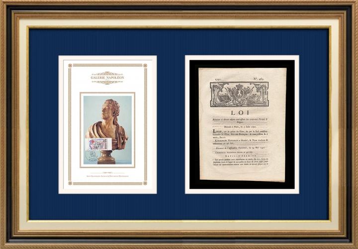 Décret - Louis XVI - 1791 - Divers objets intéressant les ci-devant Fermes et Régies | Statue de Antoine Barnave (1761-1793)