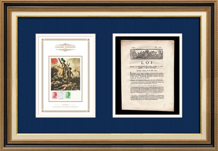 Décret - Louis XVI - 1791 - Anciens Greffiers | La Liberté guidant le peuple (Eugène Delacroix)