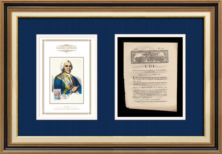 Décret - Louis XVI - 1791 - Receveurs des consignations et Commissaires aux saisies réelles | Portrait de Ladislas Ignace de Bercheny (1689-1778)