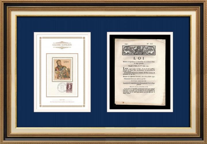 Décret - Louis XVI - 1791 - Liquidation et comptabilité des ci-devant Ferme et Régie générale | Portrait de Jean Lannes (1769-1809)