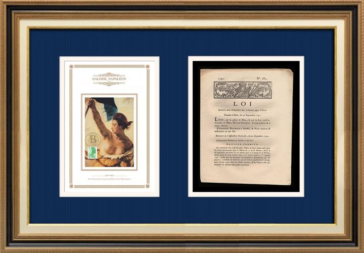 Décret - Louis XVI - 1791 - Créanciers des ci-devant pays d'Etats | La Liberté guidant le peuple (Eugène Delacroix)