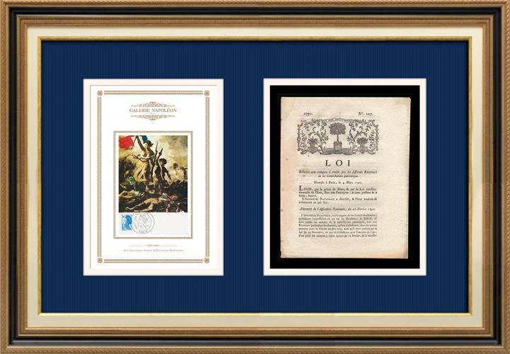 Décret - Louis XVI - 1791 - Comptes à rendre par les Receveurs de la Contribution patriotique | La Liberté guidant le peuple (Eugène Delacroix)