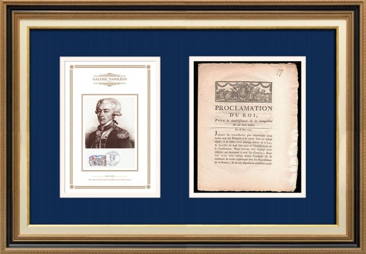 Proclamation du Roi - Louis XVI - 1790 - Tranquillité publique | Portrait de Gilbert du Motier de La Fayette (1757-1834)