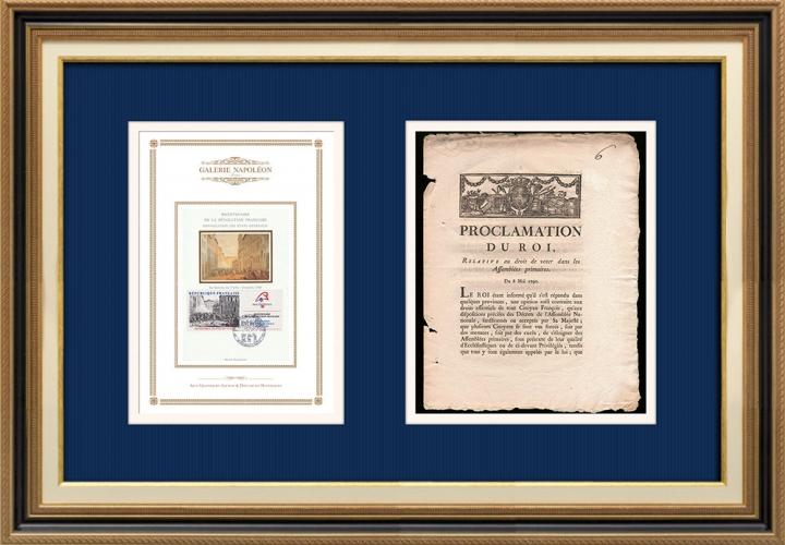 Proclamation du Roi - Louis XVI - 1790 - Droit de vote dans les Assemblées primaires | Révolution Française - Grenoble - Journée des Tuiles (1788)