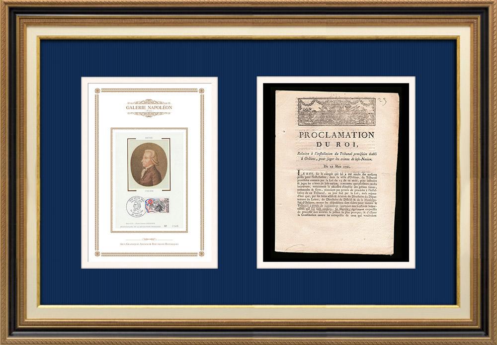 Proclamation du Roi - Louis XVI - 1791 - Installation d'un Tribunal à Orléans | Portrait de Emmanuel-Joseph Sieyès (1748-1836) | Proclamation du Roi Louis XVI de l'année 1791 avec vignette gravée sur bois. Document original imprimé sur papier vergé filigrané par AIMÉ de la ROCHE à Lyon en 1791.