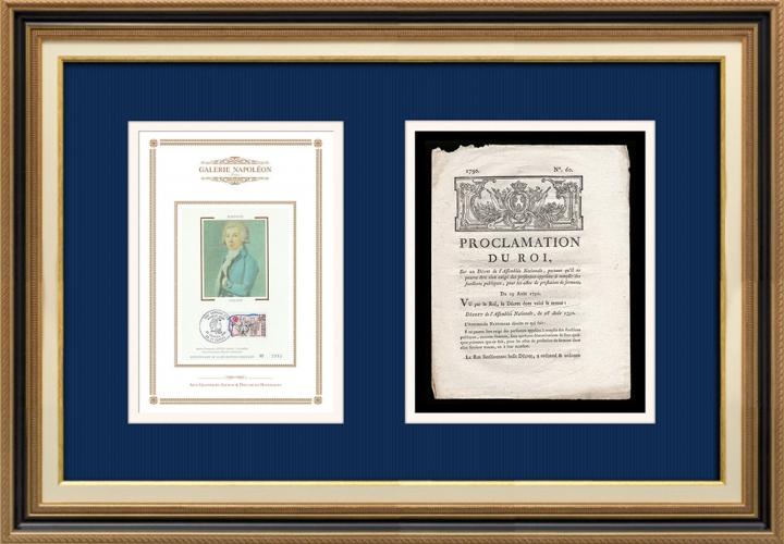 Proclamation du Roi - Louis XVI - 1790 - Prestation de serment des fonctionnaires | Portrait d'Antoine Barnave (1761-1793)
