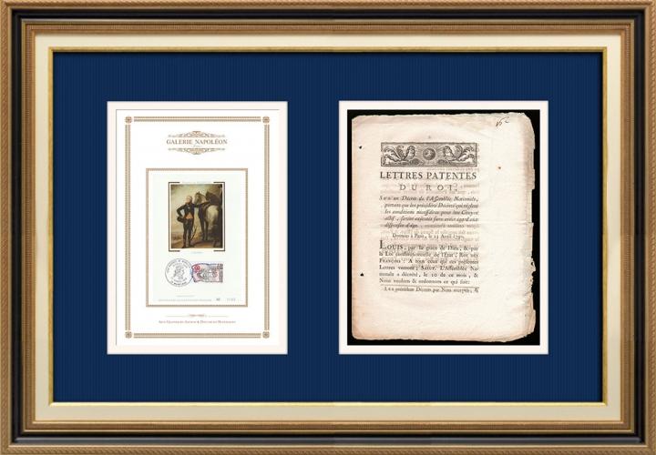 Lettre patente du Roi - Louis XVI - 1790 - Citoyens actifs | Portrait de Louis Marie Marc Antoine de Noailles (1756-1804)