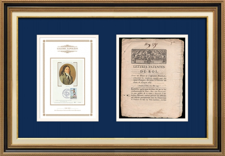 Lettre patente du Roi - Louis XVI - 1790 - Citoyen réputé français et Citoyen actif | Portrait de Camille Desmoulins (1760-1794)