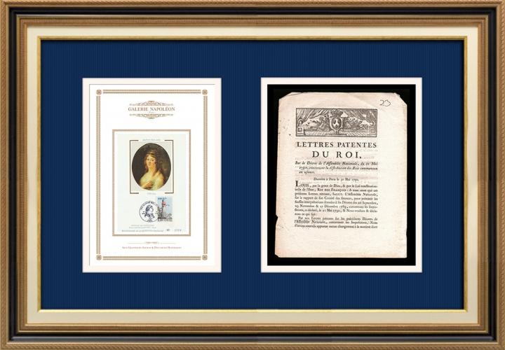 Lettre patente du Roi - Louis XVI - 1790 - Bois communaux en usance | Portrait de Manon Roland (1754-1793)