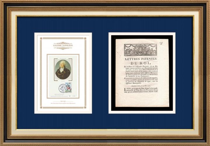 Lettre patente du Roi - Louis XVI - 1790 - Impôts | Portrait de François Christophe Kellermann (1735-1820)