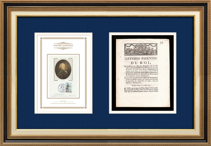Lettre patente du Roi - Louis XVI - 1790 - Impôts | Portrait de Nicolas de Condorcet (1743-1794)