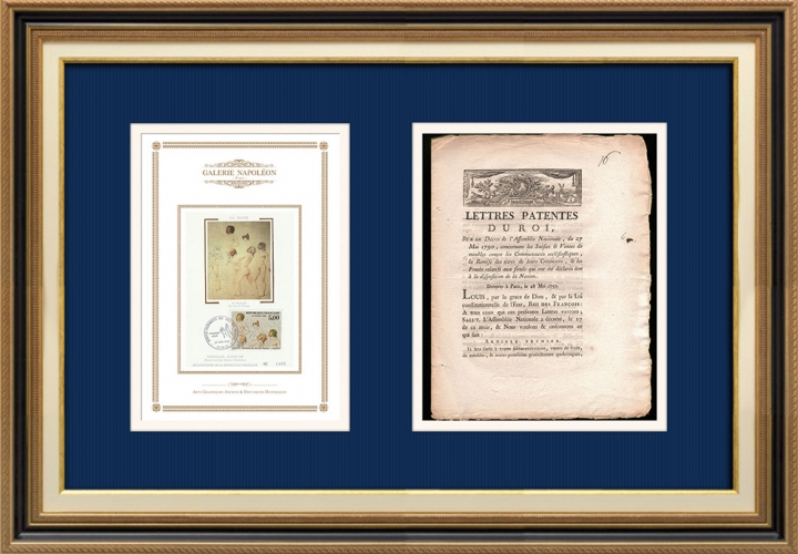 Lettre patente du Roi - Louis XVI - 1790 - Créances des communautés écclésiastiques | Serment du Jeu de paume (Jacques-Louis David)