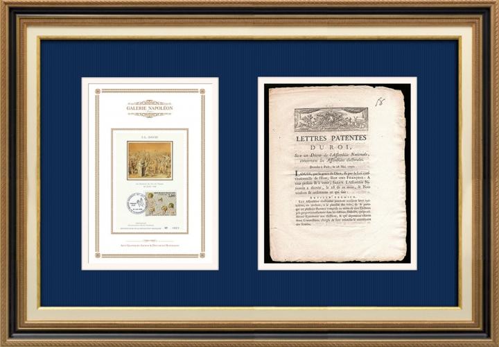Lettre patente du Roi - Louis XVI - 1790 - Assemblées électorales | Serment du Jeu de paume (Jacques-Louis David)