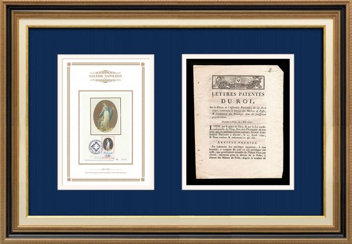 Lettre patente du Roi - Louis XVI - 1790 - Maître de Poste | Devise de la République Française - Fraternité