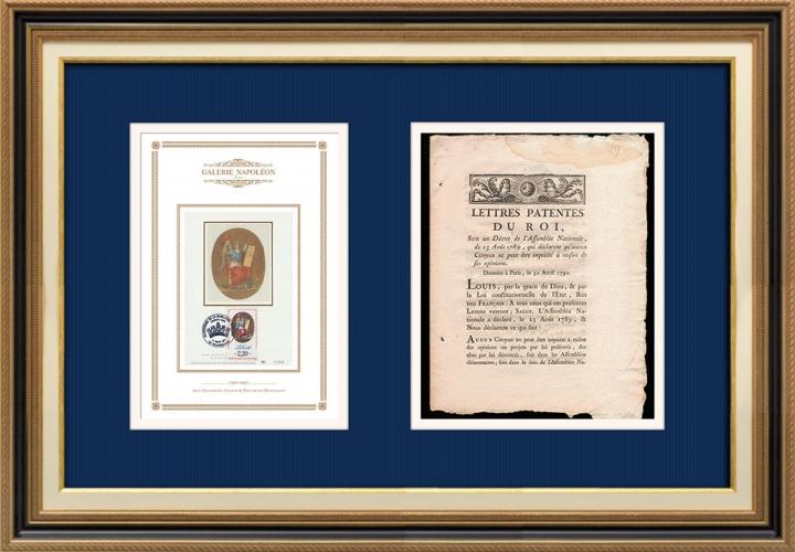 Lettre patente du Roi - Louis XVI - 1789 - Aucun citoyen ne peut être inquièté en raison de ses opinions | Devise de la République Française - Liberté