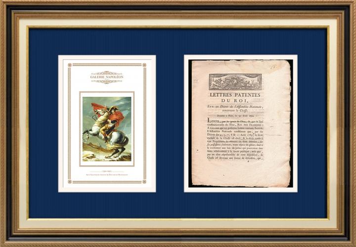 Lettre patente du Roi - Louis XVI - 1790 - La chasse | Bonaparte franchissant le Grand-Saint-Bernard (Jacques-Louis David)