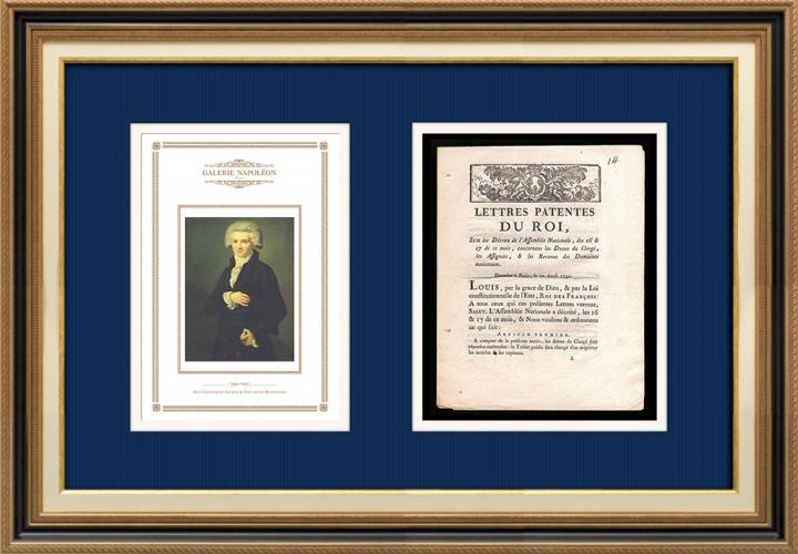 Lettre patente du Roi - Louis XVI - 1790 - Dettes du Clergé, Assignats | Portrait de Maximilien de Robespierre (Pierre Roch Vigneron)