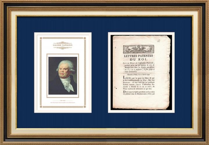 Lettre patente du Roi - Louis XVI - 1790 - Vacance de titre de Bénéfice-cure dans les églises paroissiales | Portrait de Georges Danton (Constance-Marie Charpentier)