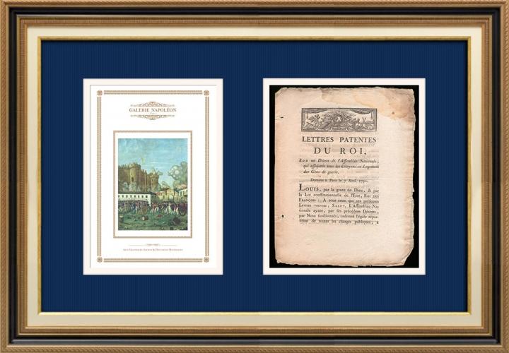 Lettre patente du Roi - Louis XVI - 1790 - Logement des Gens de guerre | La Prise de la Bastille - Arrestation de M. de Launay (Jean Dubois)