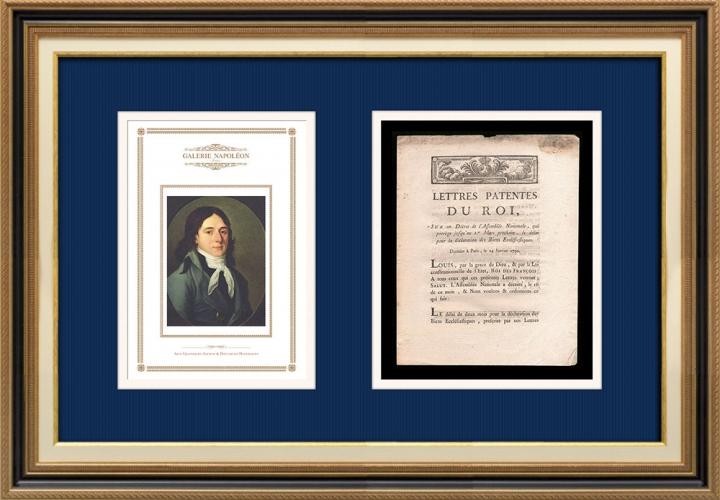 Lettre patente du Roi - Louis XVI - 1790 - Déclaration des Biens Ecclésiastiques | Portrait de Camille Desmoulins (1760-1794)
