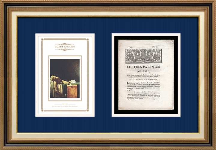 Lettre patente du Roi - Louis XVI - 1790 - Paiement des intérêts de la Dette publique | La Mort de Marat (Jacques-Louis David)
