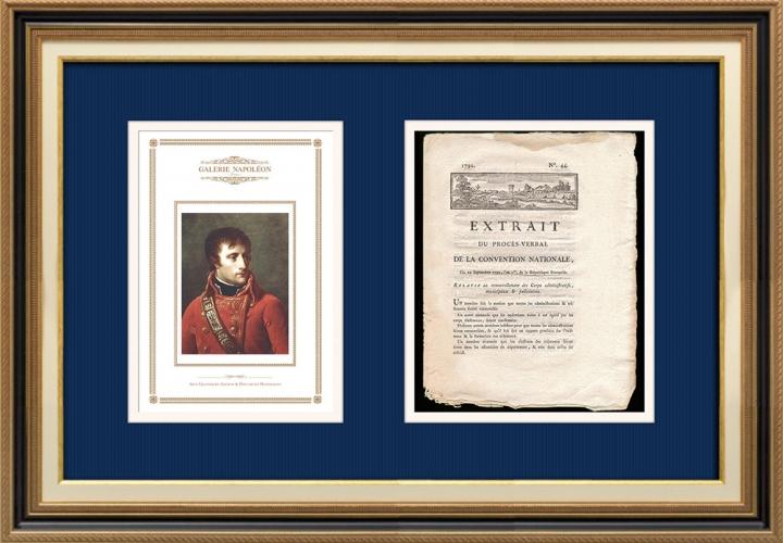 Décret - Révolution Française - 1792 - Renouvellement des Corps administratifs, municipaux et judiciaires | Portrait de Napoléon Bonaparte, Premier Consul (Baron Antoine-Jean Gros)