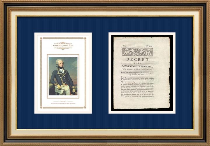 Décret - Révolution Française - 1793 - Inspecteurs généraux, Visiteurs principaux et Visiteurs des Rôles | Portrait de Gilbert du Motier de La Fayette (Joseph-Désiré Court)