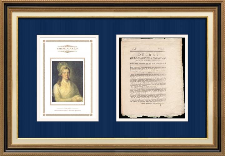 Décret - Révolution Française - 1793 - Gendarmes qui ont fui à Perpignan et à Niort | Portrait de Charlotte Corday (Jean-Jacques Hauer)