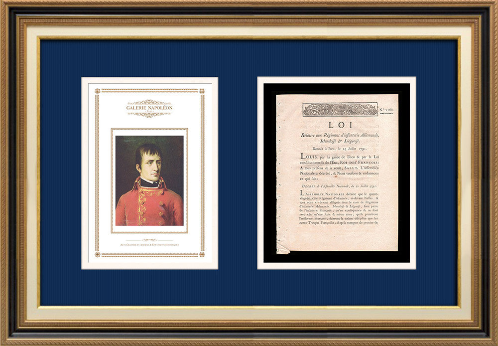 Decree - Louis XVI of France - 1791 - German, Irish and Liege Infantry Regiments | Portrait of Napoléon Bonaparte (Robert Lefevre) | Decree N°1168 of the National Assembly with a large woodcut vignette dated 21 Juillet 1791. Original document printed on watermarked laid paper by IMPRIMERIE ROYALE at Paris in 1791.