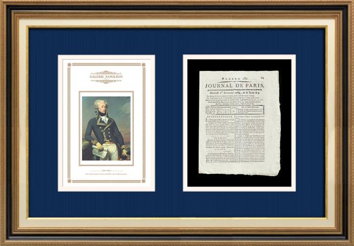 Revolução Francesa - Journal de Paris - Quarta-feira, dia 1 de Julho de 1789 | Retrato de Gilbert du Motier de La Fayette (Joseph-Désiré Court)
