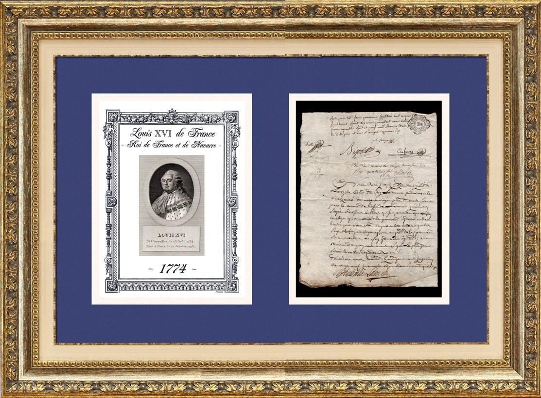 Document Historique - Règne de Louis XVI de France - 1774 - Louis XVI devient Roi de France et de Navarre   Document manuscrit original daté du 28 Juin 1774 et Portrait de Louis XVI de France, gravure sur acier originale dessinée par Alexandre Desenne
