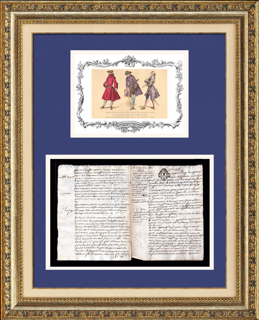 Document Historique - Règne de Louis XV de France - 1764 - Louis XV Roi de France et de Navarre | Document manuscrit original daté du 17 Septembre 1764 et Mode durant le Règne de Louis XV de France, Gravure sur acier originale