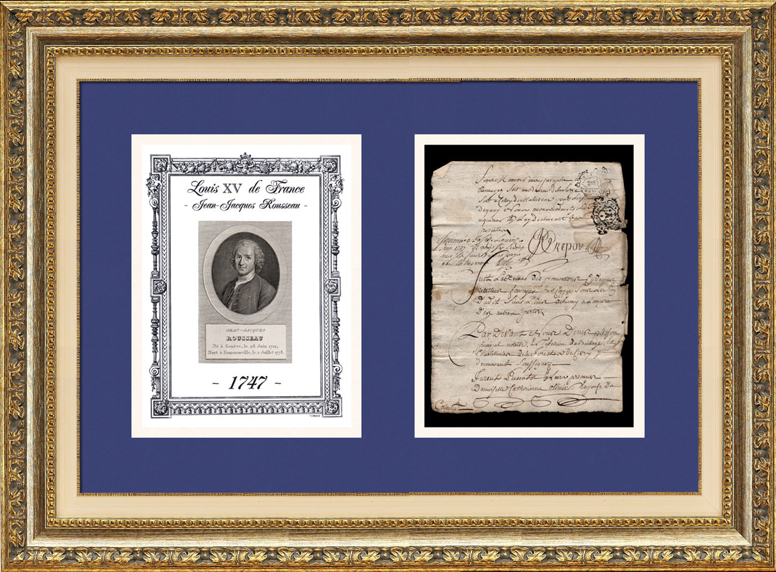 Historical Document - Reign of Louis XV of France - 1747 - Jean-Jacques Rousseau Arrives in Paris after the Death of his Father | Historical handwritten document dated June 15th, 1747 and Portrait of Jean-Jacques Rousseau, an original steel engraving drawn by Alexandre Desenne