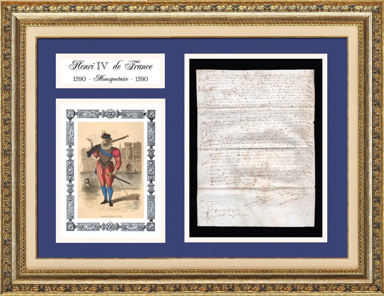Document Historique sur Parchemin - Règne de Henri IV de France - 1590 - Guerres de Religion - Mousquetaire et Arquebuse   Document manuscrit original daté du 30 Septembre 1590 et Costume de Mousquetaire et Arquebuse, gravure sur acier originale gravée par Renard