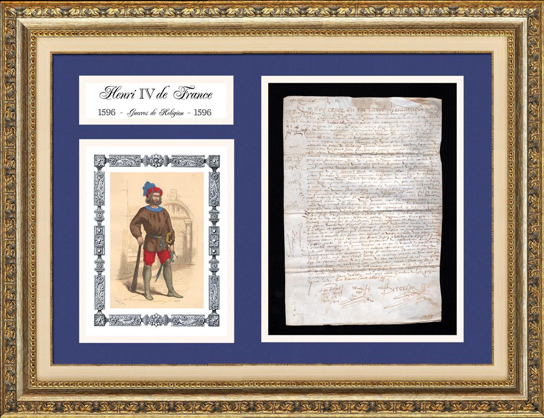 Document Historique sur Parchemin - Règne de Henri IV de France - 1596 - Guerres de Religion - Gardien Geolier   Document manuscrit original daté du 14 Septembre 1596 et Costume de Gardien Geolier, gravure sur acier originale dessinée par Gerlier