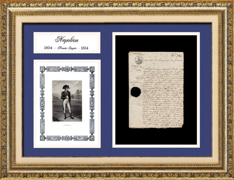 Document Historique - Règne de Napoléon Ier - 1808 - Guerre d'Indépendance Espagnole | Document manuscrit original daté du 2 mai 1808 et Portrait de Napoléon, gravure sur acier originale dessinée par Jean-Baptiste Isabey en 1837