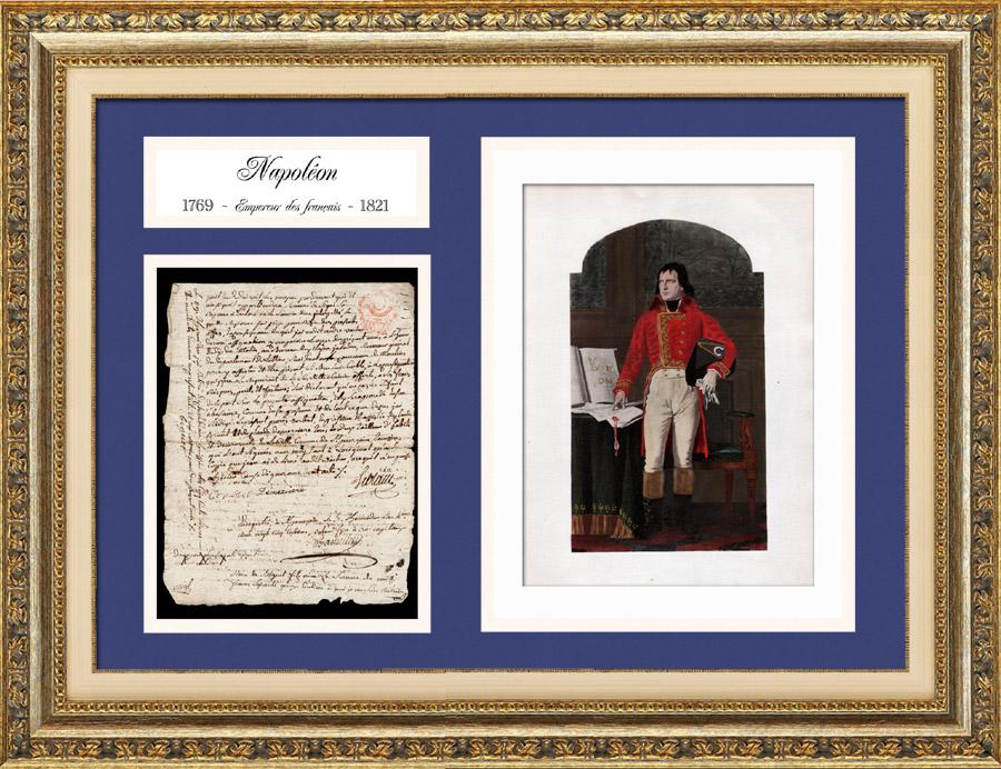 Document Historique - Guerres de la Révolution Française - 1796 - Napoléon Bonaparte à la Bataille de Castiglione | Document manuscrit original daté du 23 Juillet 1796 (3 Thermidor An IV de la République) et Portrait de Napoleon Bonaparte, lithographie originale.