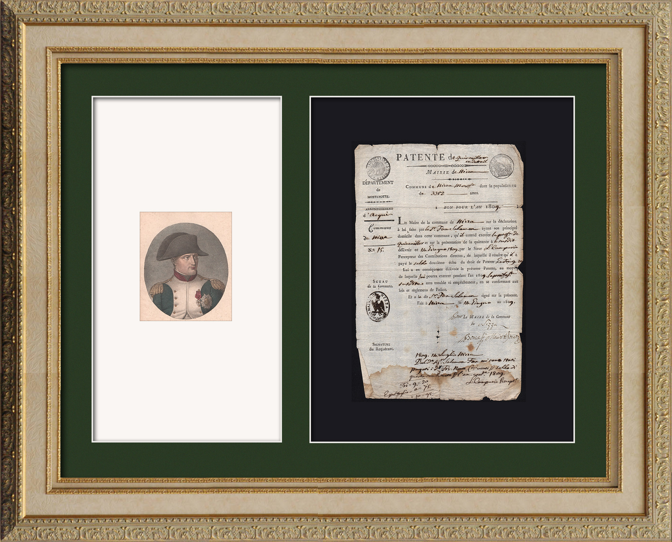 Historical Document - First French Empire - 1809 - Nizza - Montenotte - Italy - License of Merchant | Historical original document dated 1809, stamp with imperial eagle and Portrait of Napoleon Bonaparte