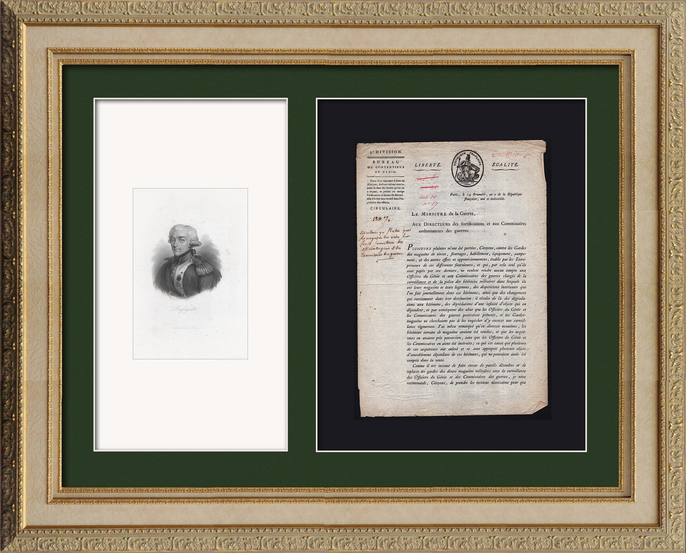 Document Historique - Révolution Française - 1798 - Circulaire du Ministre de la Guerre aux Directeurs des Fortifications | Document original daté du 14 Brumaire An 7 de la République française (4 Novembre 1798) et Portrait de Lafayette