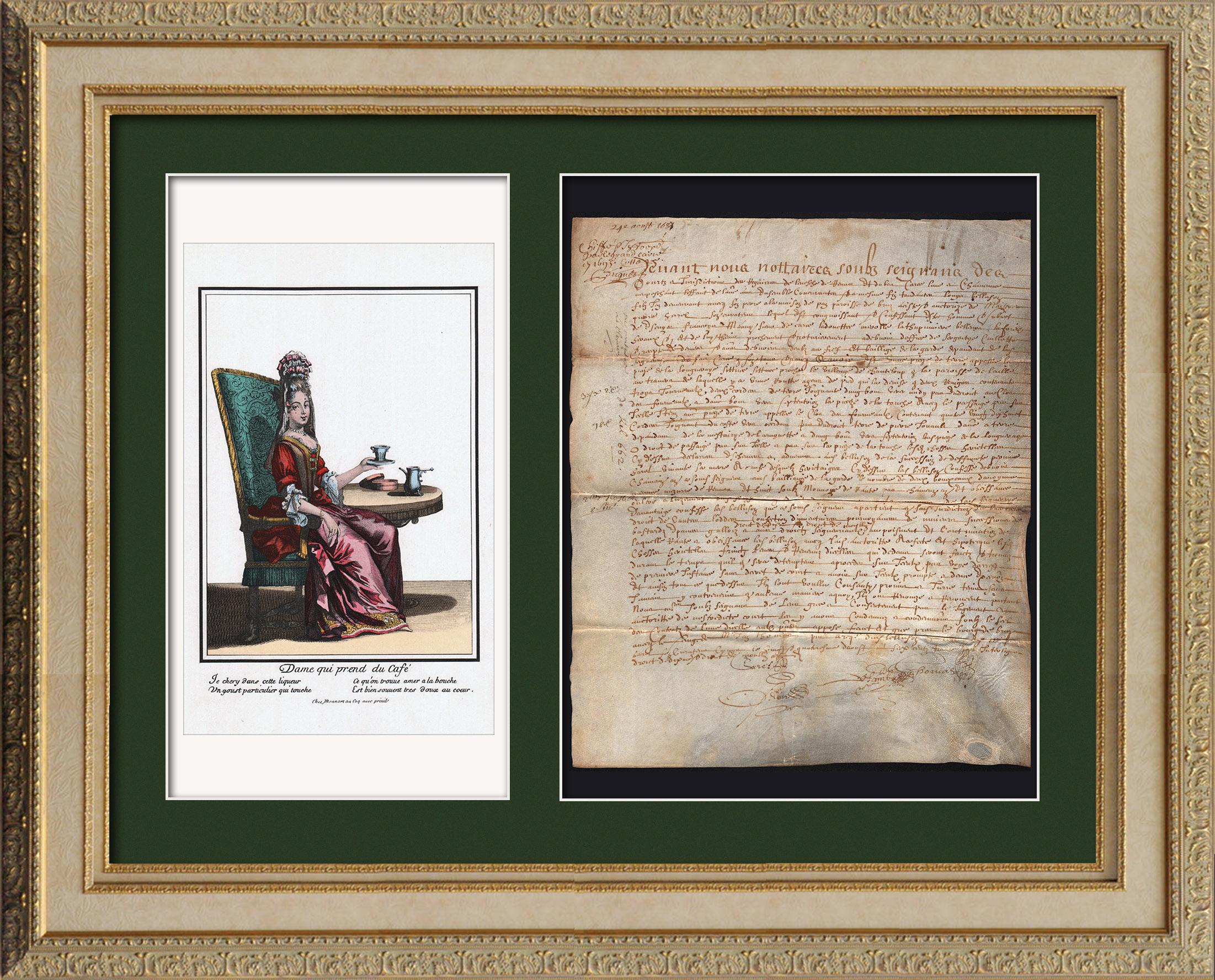 Document Historique sur Parchemin - Règne de Louis XIII de France - 1637 - France XVIIème Siècle   Document manuscrit original daté du 24 Août 1637 et gravure sur acier originale d'après Robert Bonnart