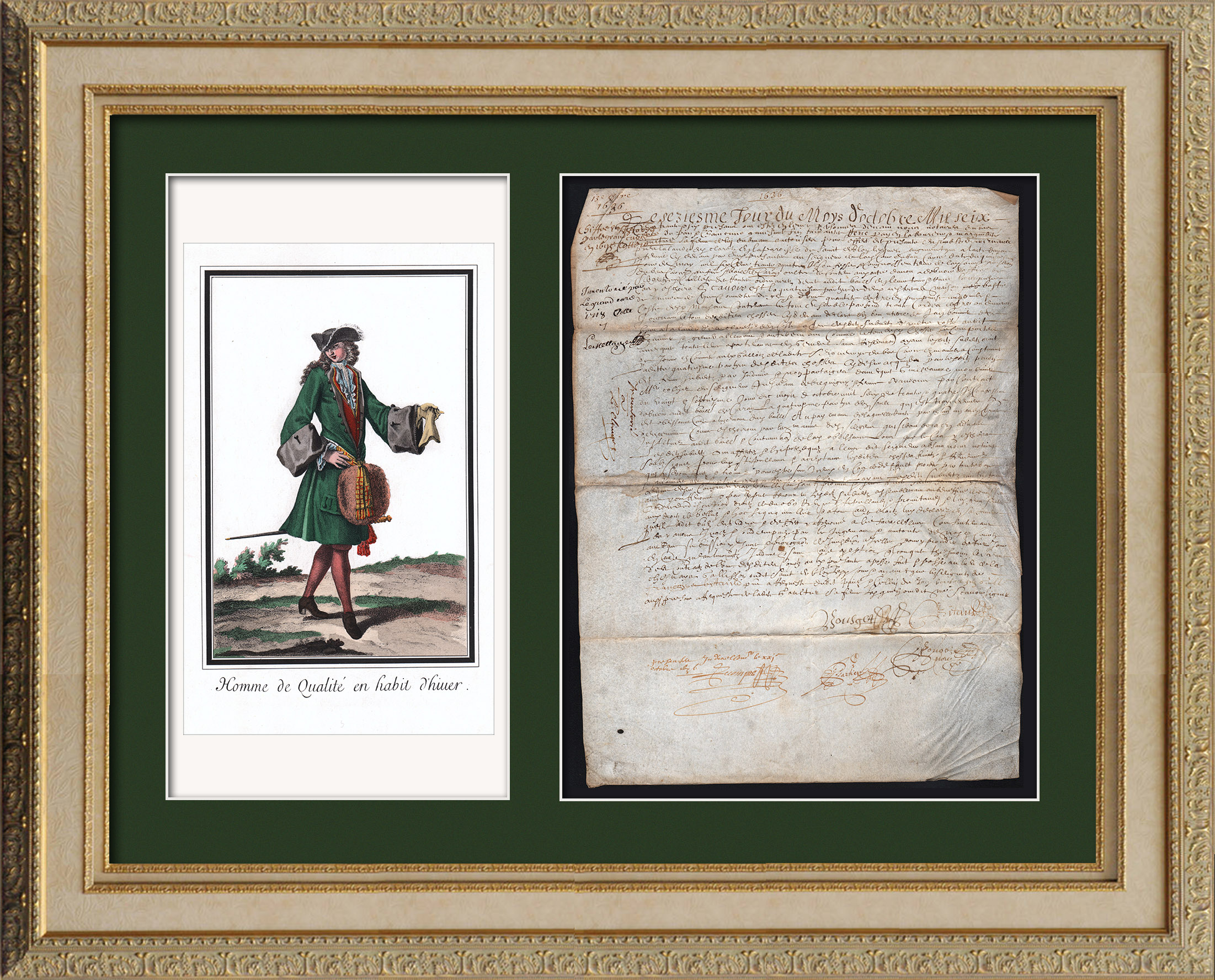 Historical Document on Parchment - Reign of Louis XIII of France - 1636 - France XVIIth Century   Historical handwritten document dated October 13th, 1636 and an original steel engraving after Robert Bonnart