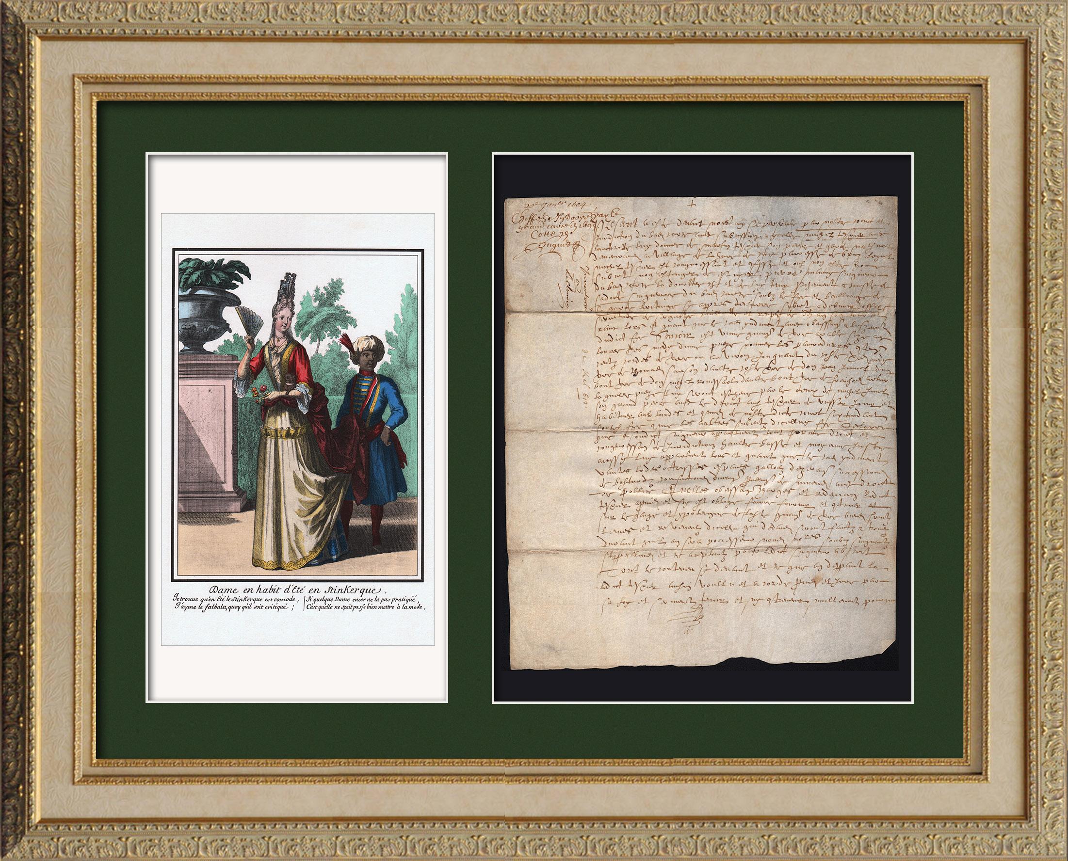 Document Historique sur Parchemin - Règne de Louis XIII de France - 1604 - France XVIIème Siècle   Document manuscrit original daté du 20 Janvier 1604 et gravure sur acier originale d'après Robert Bonnart