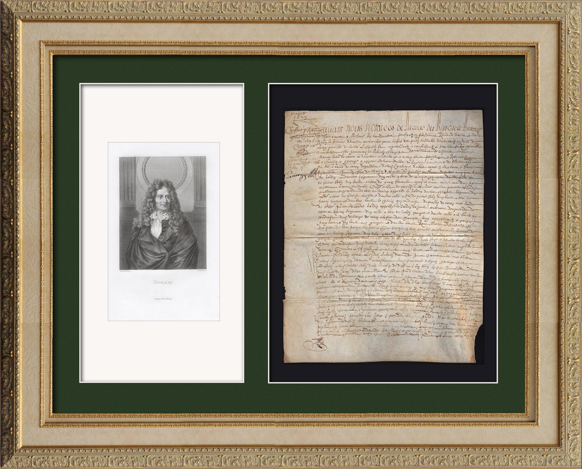 Document Historique sur Parchemin - Règne de Louis XIII de France - 1623 - France XVIIème Siècle | Document manuscrit original daté du 3 Août 1623 et Portrait de Nicolas Boileau