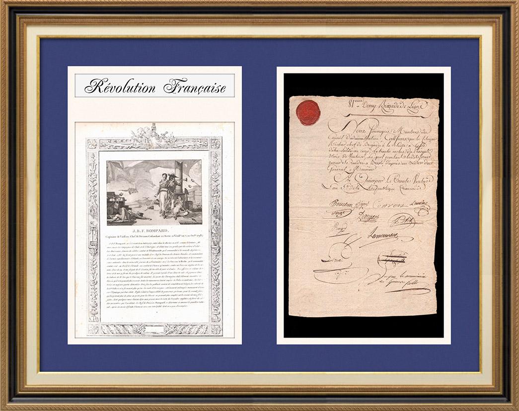 Koalitionskriege - 1797 - Infanterie-Halbbrigade Nr.81 - Befehl, General Meunier in Brest Beizutreten | Dokument der zeit auf Geripptes Papier mit Wasserzeichen datiert 1797 mit Wachssiegel der infanterie-halbbrigade Nr.81, biografie und alter stich von Jean-Baptiste Bompard