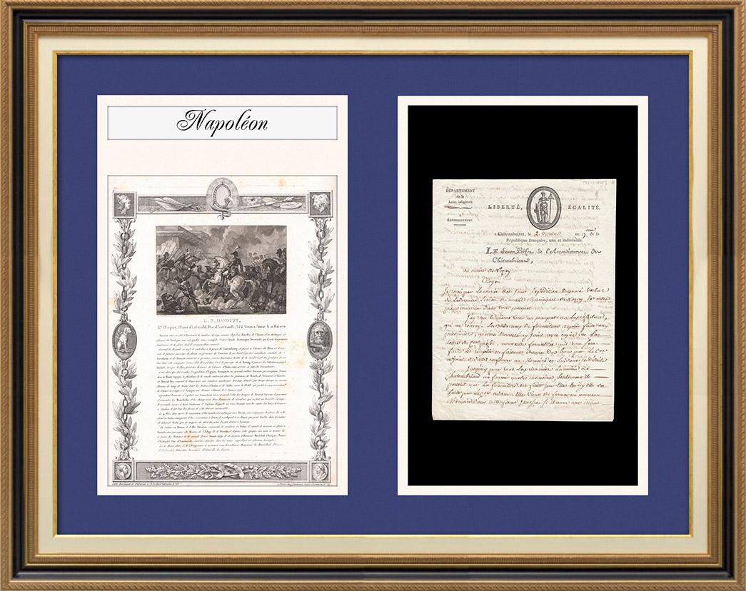 Napoléon - Le Consulat - 1801 - Châteaubriant - Fourniture de Pain faite aux Prisonniers   Document d'époque sur papier vergé filigrané daté de 1801 (2 Ventose An IX), biographie et gravure ancienne de Louis Nicolas Davout