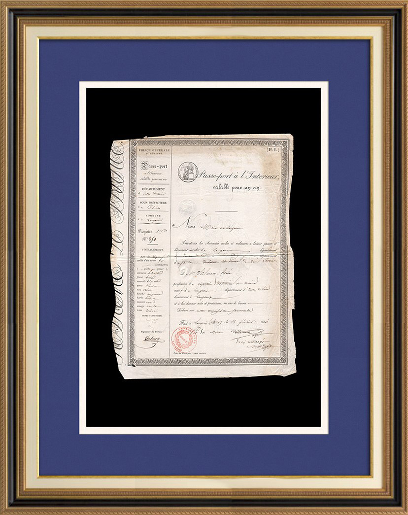 Monarchie de Juillet - Louis-Philippe I - 1836 - Passe-port à l'Intérieur pour un Capitaine d'Artillerie de Marine   Document d'époque sur papier filigrané (Louis-Philippe I Roi des Français) daté du 18 Février 1836