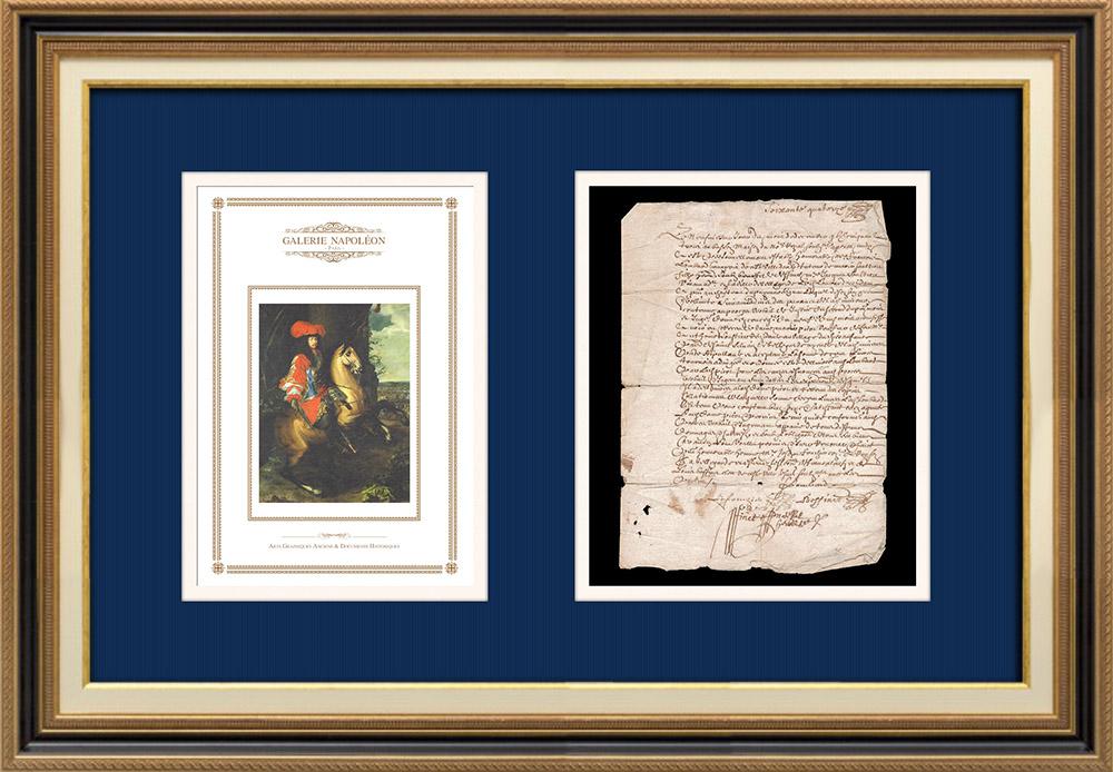 Manuscrit - Epoque Louis XIV (1674) | Portrait équestre de Louis XIV (Charles Le Brun) | Document manuscrit sur papier vergé filigrané rédigé en 1674 (Louis XIV)