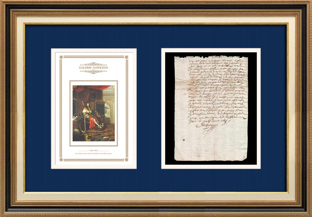 Manuscrit - Epoque Louis XIV (1650) | Portrait de Louis XIV (Henri Testelin) | Document manuscrit sur papier vergé filigrané rédigé en 1650 (Louis XIV)