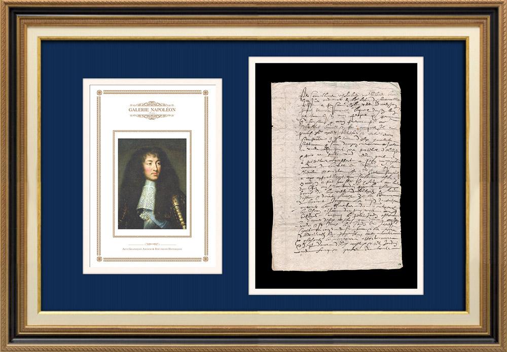 Manuscrit - Epoque Louis XIV (1649) | Portrait de Louis XIV (Charles Le Brun) | Document manuscrit de 3 pages sur papier vergé filigrané rédigé en 1649 (Louis XIV)